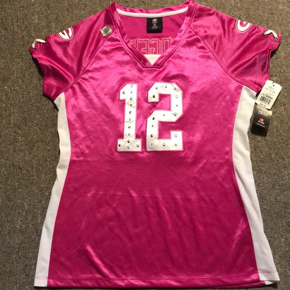best website 75284 a08bd Pink rhinestone Aaron Rodgers jersey NWT